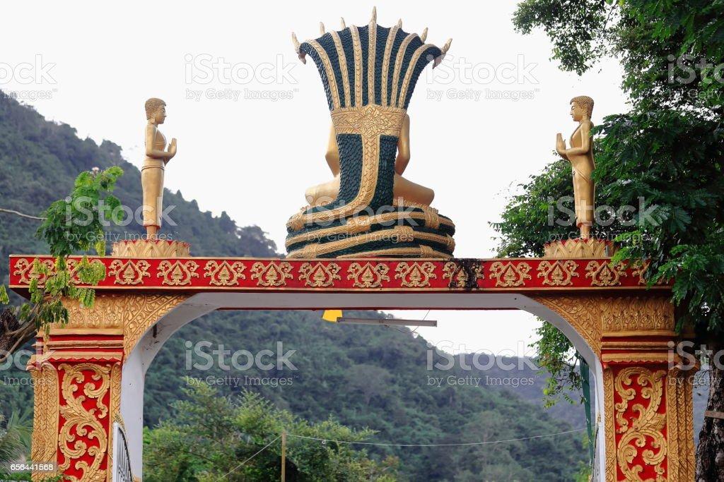 Outer gate-Wat Pha Singkham temple. Muang La-Udomxai province-Laos. 3599 stock photo
