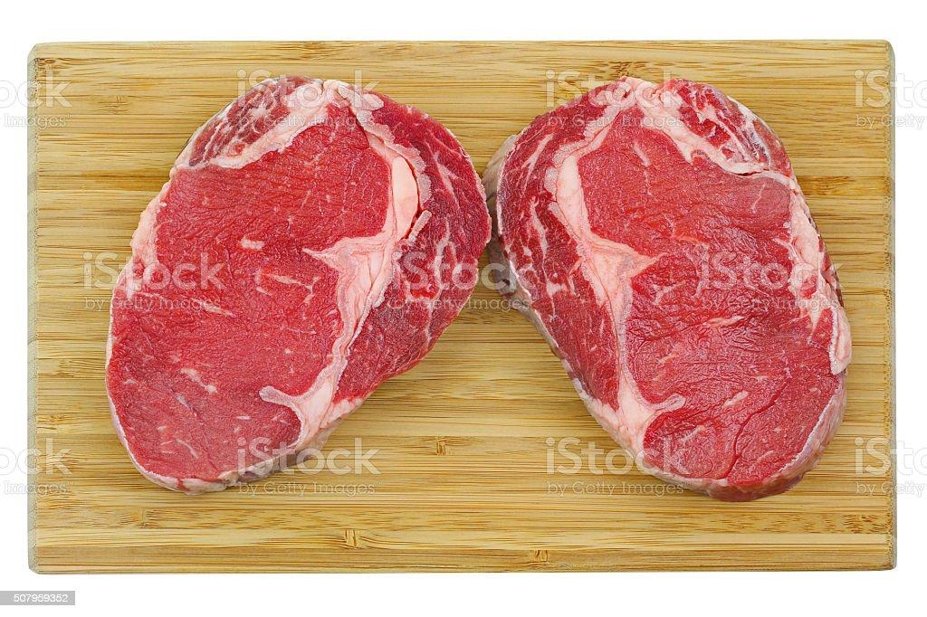 Outer side of rib, Rib Eye steak on cutting board stock photo