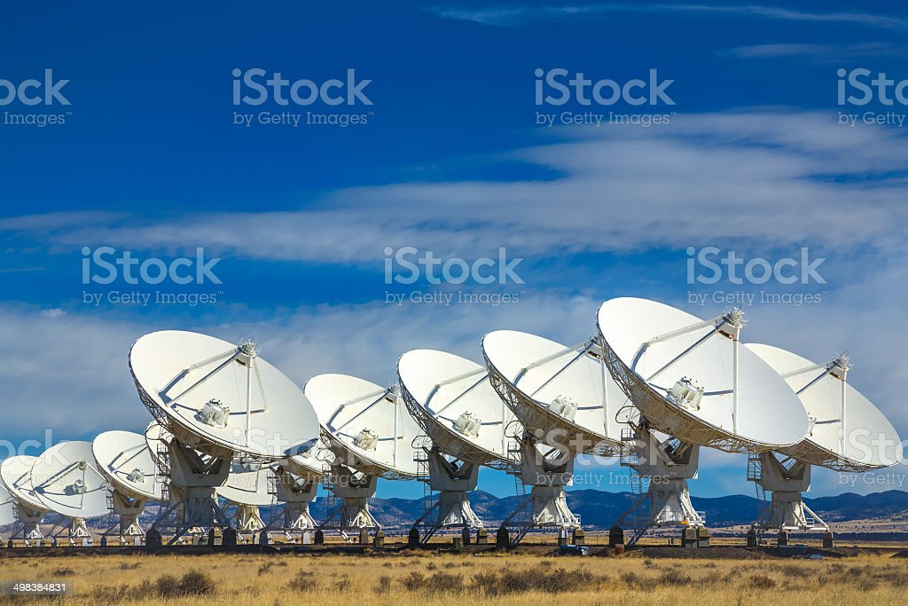 VLA outer space radio telescope array, Socorro, New Mexico stock photo