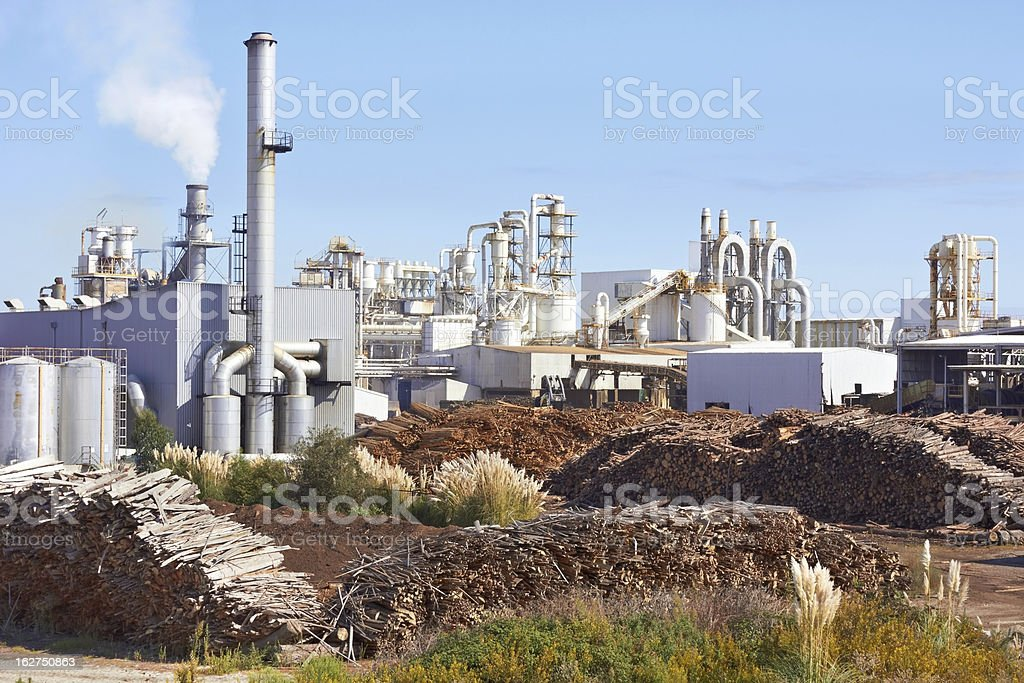 Outer view of a big isolated operating paper factory stock photo