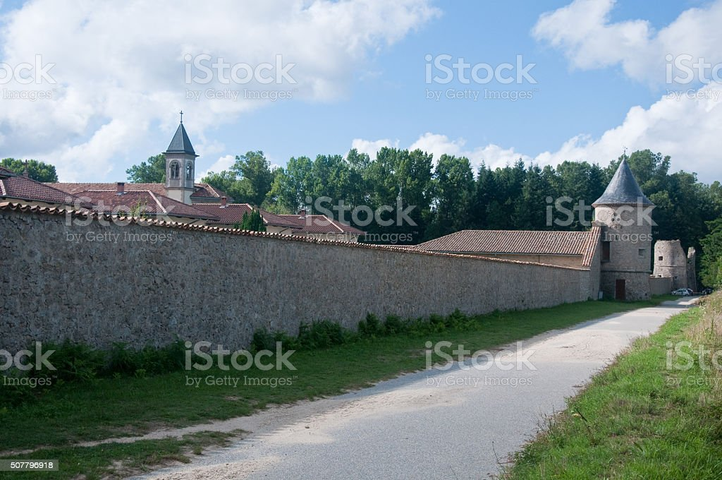 Outer walls of the monastery of Serra San Bruno stock photo