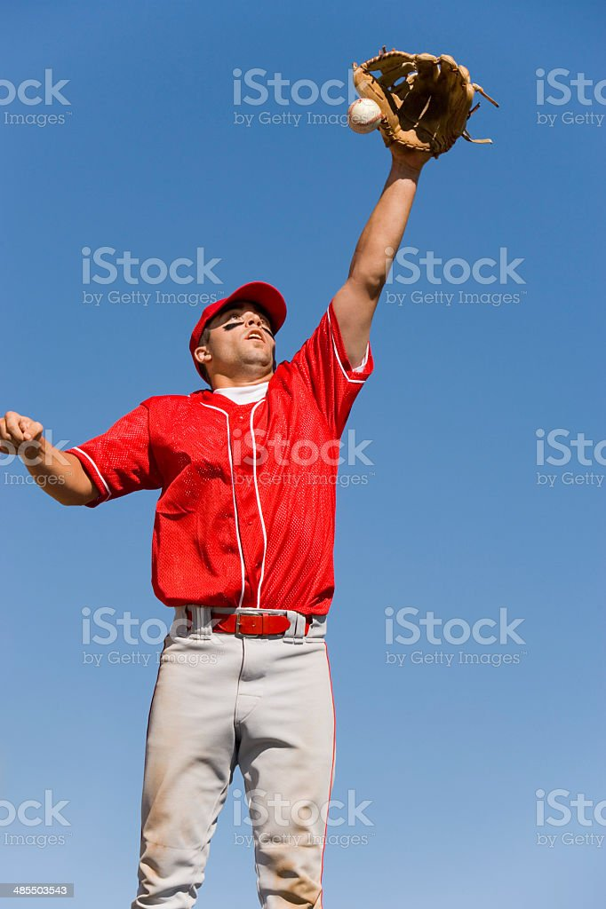 Outfielder Catching Baseball stock photo