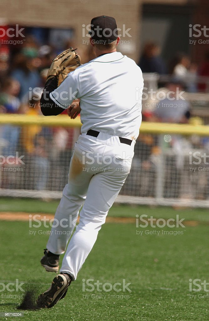 Outfielder Hits the Cut Off royalty-free stock photo