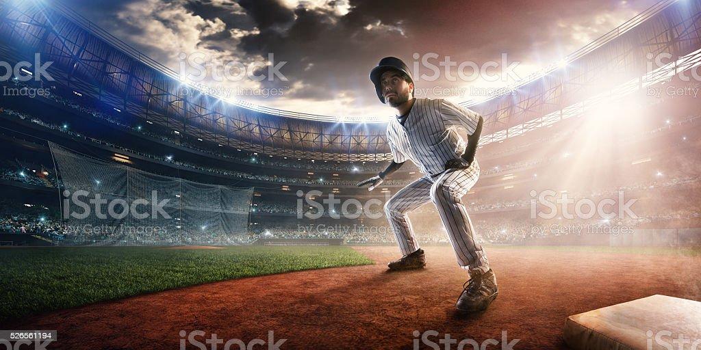 Outfielder on stadium stock photo