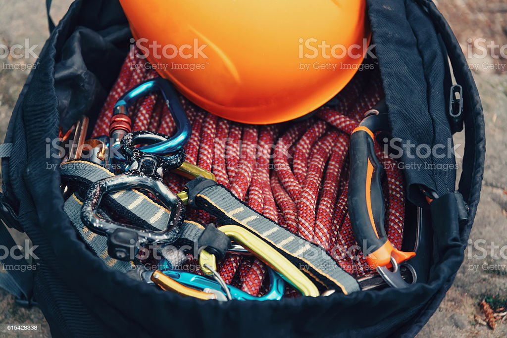 Outfit for climbing sport stock photo