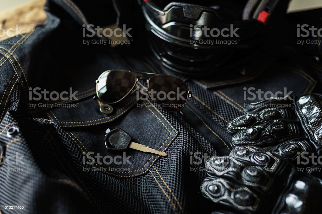 Outfit of Biker and accessories stock photo