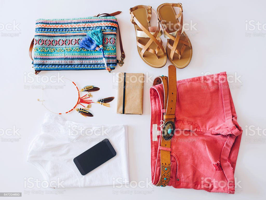 Outfit of boho and modern woman stock photo