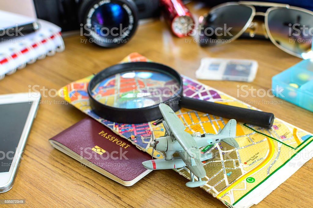 Outfit of traveler stock photo