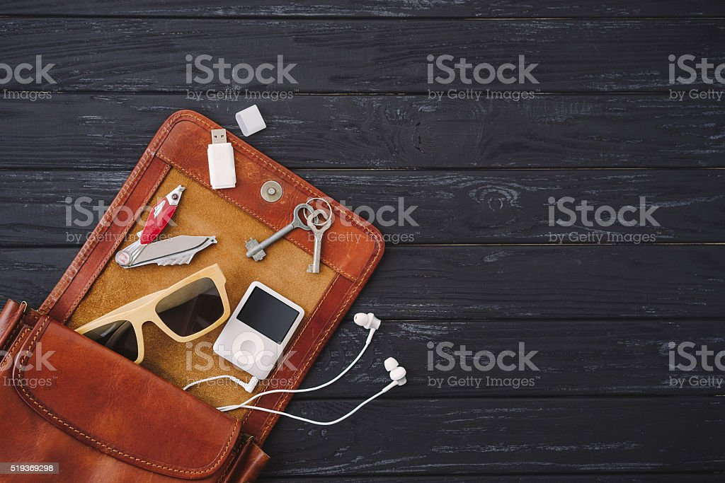 Outfit of traveler, student, teenager, young man or woman stock photo