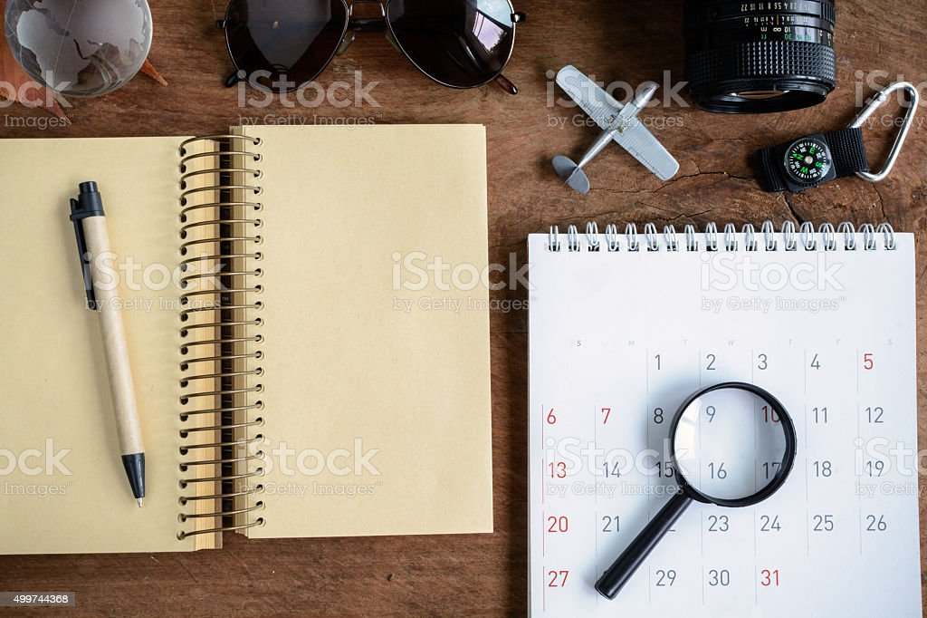 Outfit of travelerdiary and calendar,Travel planning stock photo