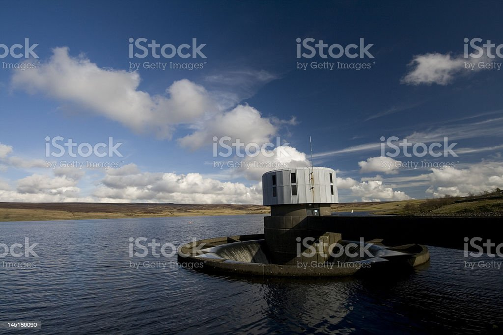 Outflow at Grimwith reservoir stock photo
