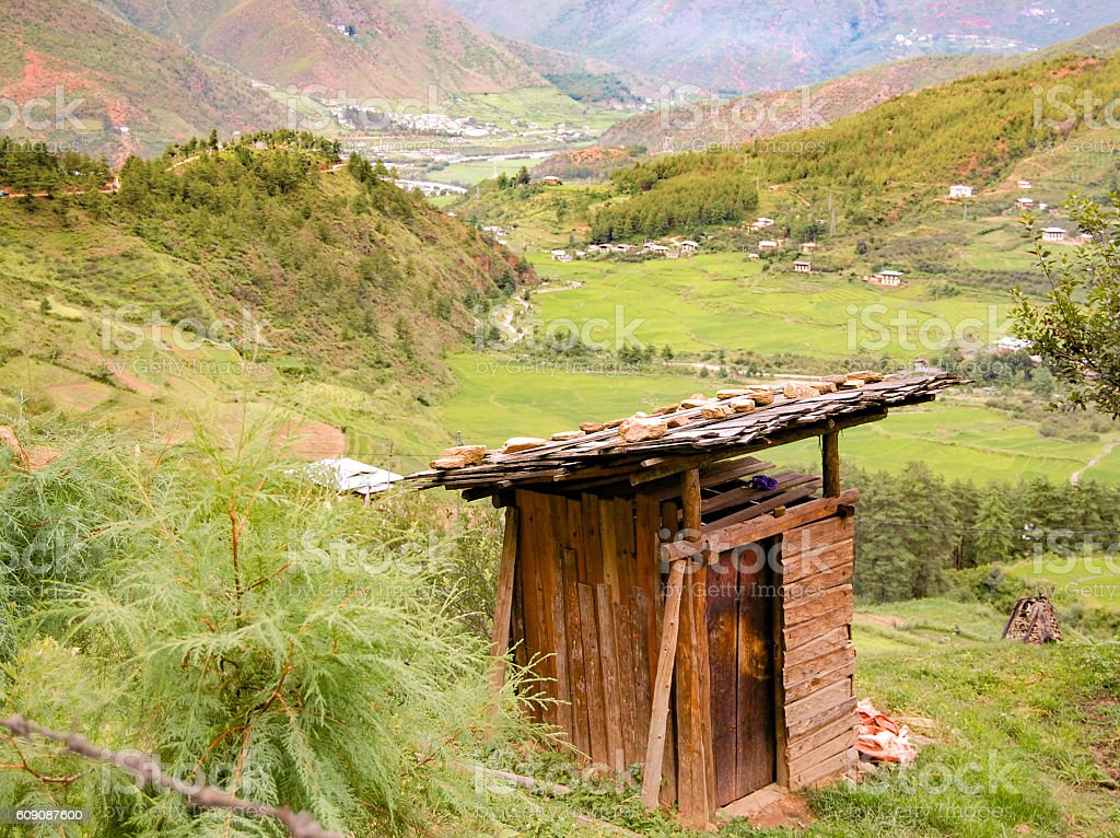 Outhouse Bhutan stock photo