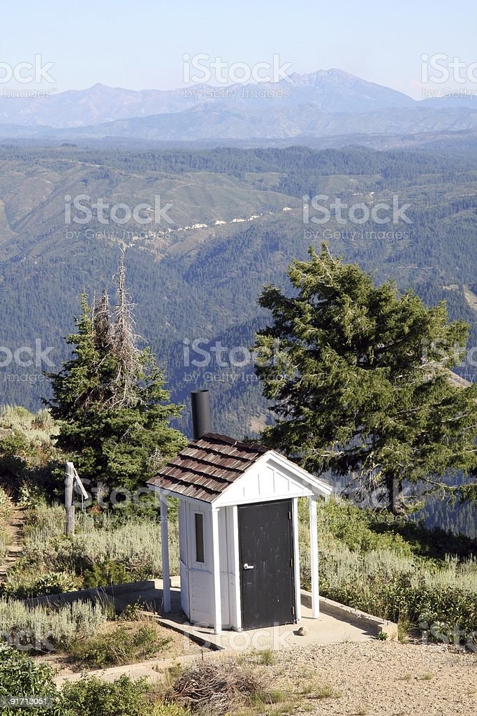 Outhouse with a view. royalty-free stock photo
