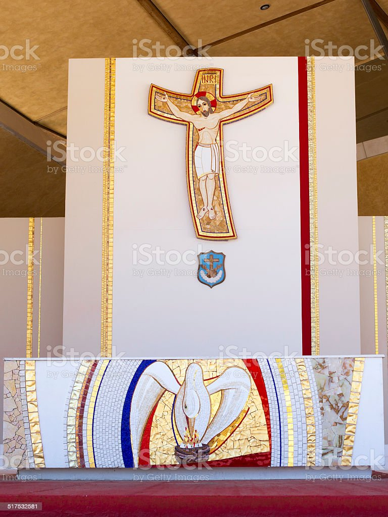 outise altar of the church stock photo