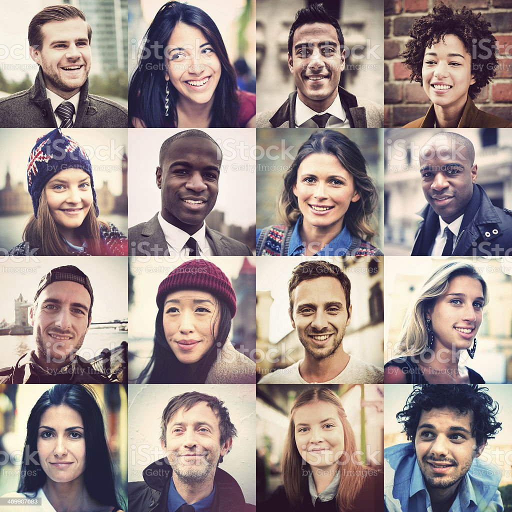 Outlay of 16 multiracial faces stock photo