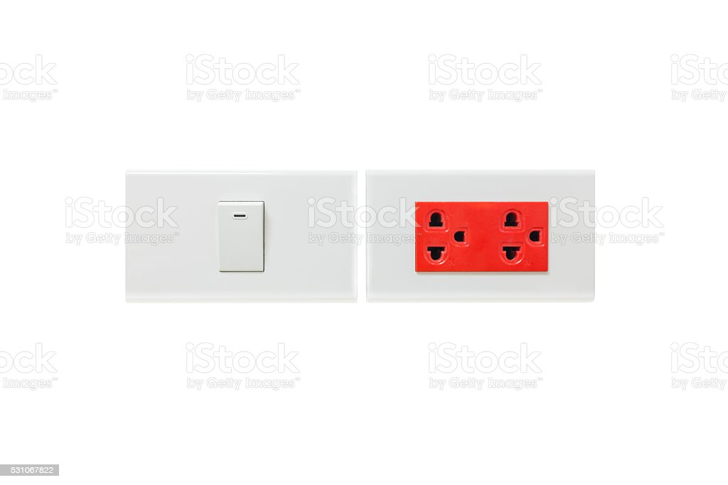 outlet switch and red plug stock photo