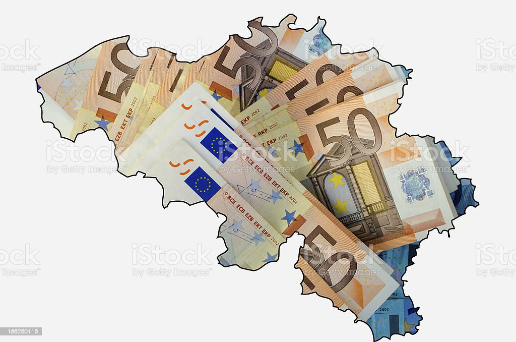 Outline map of Belgium with euro banknotes in background stock photo