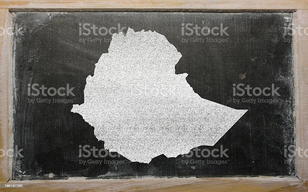 outline map of ethiopia on blackboard royalty-free stock photo