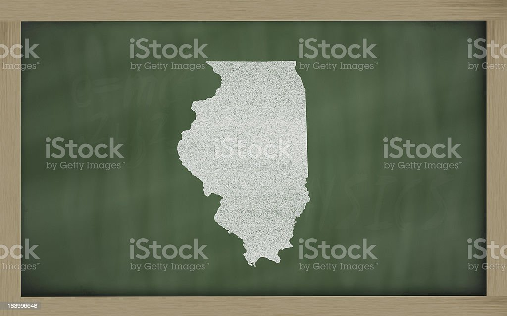 outline map of illinois on blackboard stock photo