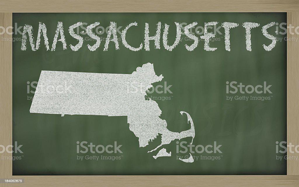 outline map of massachusetts on blackboard stock photo