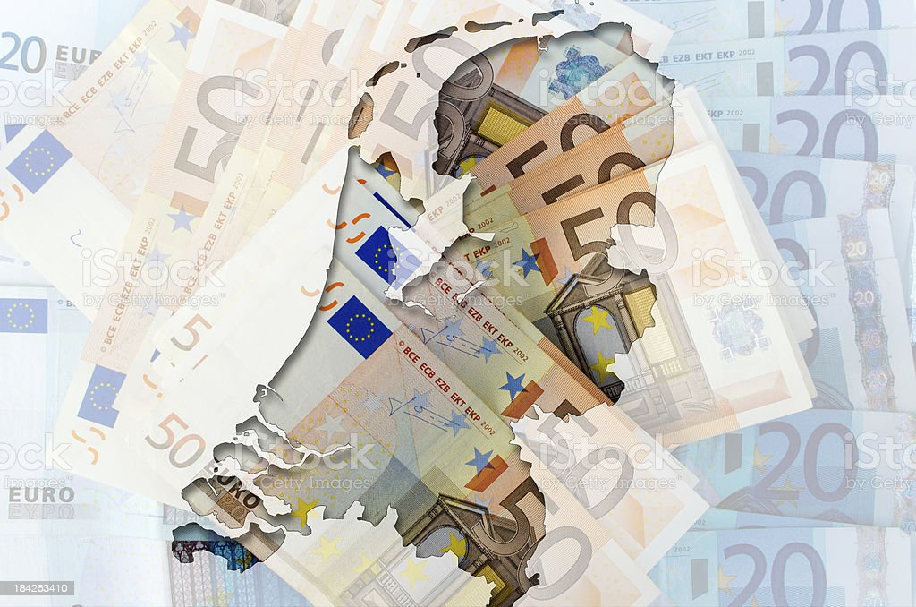 Outline map of Netherlands with transparent euro banknotes stock photo