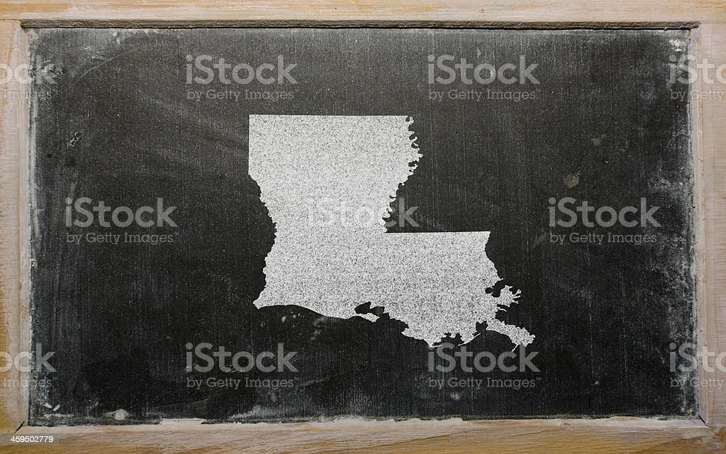 outline map of us state louisiana on blackboard stock photo