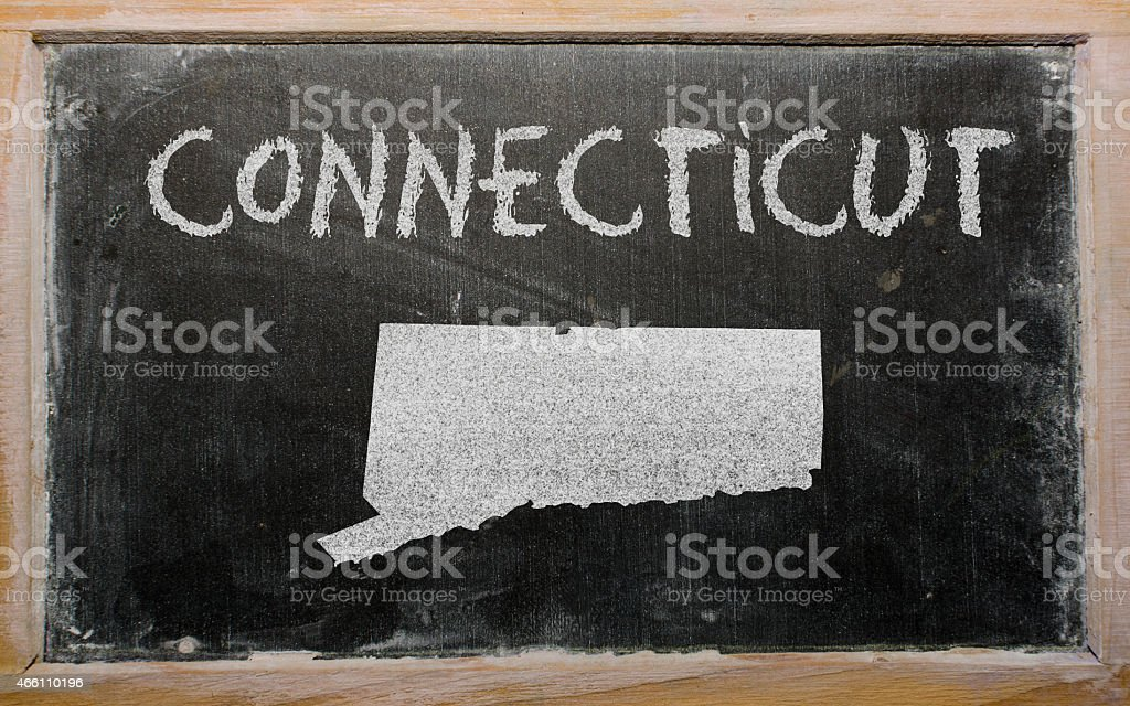 outline map of us state of connecticut on blackboard stock photo