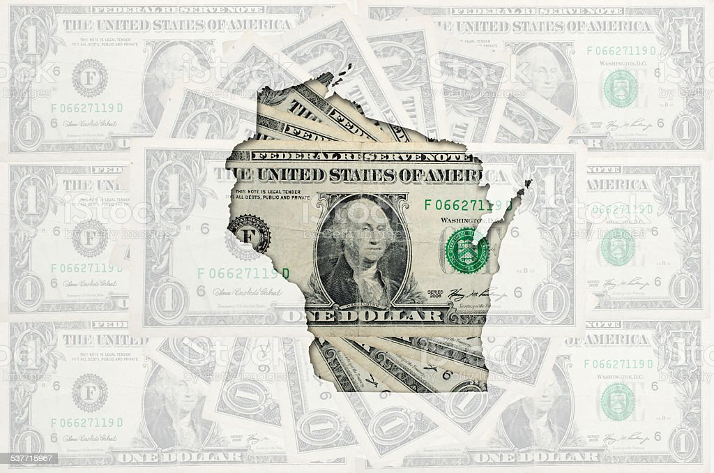 Outline map of wisconsin with transparent american dollar banknotes stock photo