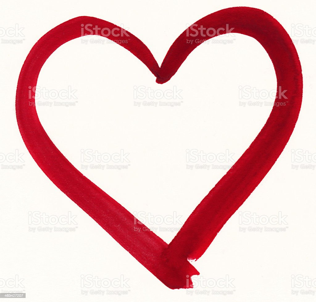 Outline of a red painted heart shape stock photo
