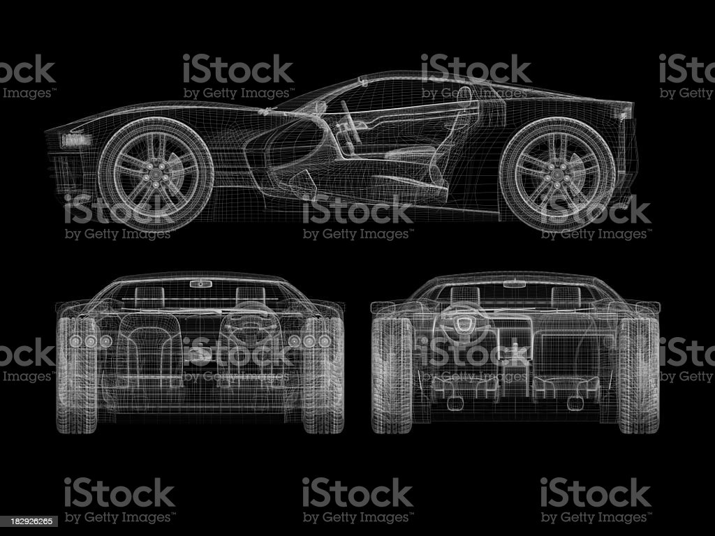 Outline of a sports car wireframe stock photo