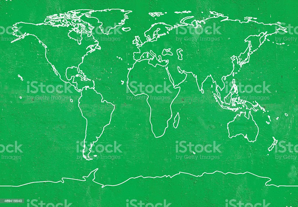Outline World Map on Green background stock photo