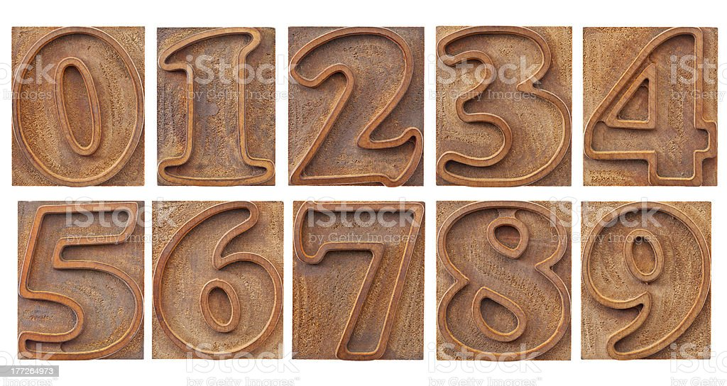 outlined numbers in letterpress type royalty-free stock photo