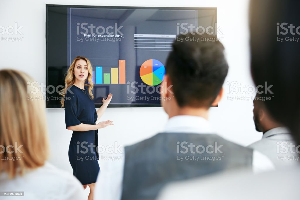 Outlining her business plan for the new year stock photo