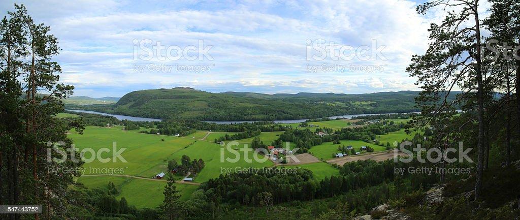 Outlook on agricultural landscape from mount Krokvaag in Sweden stock photo