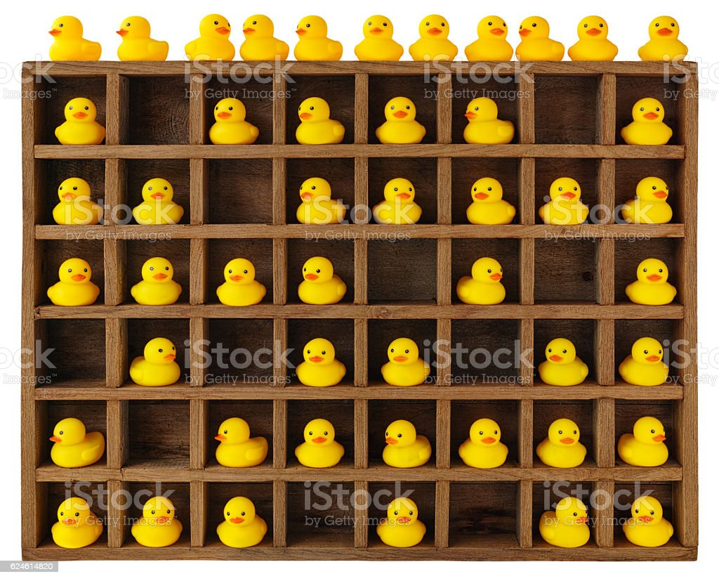 Out-of-the-box design idea, rubber ducks in pigeon holes. stock photo