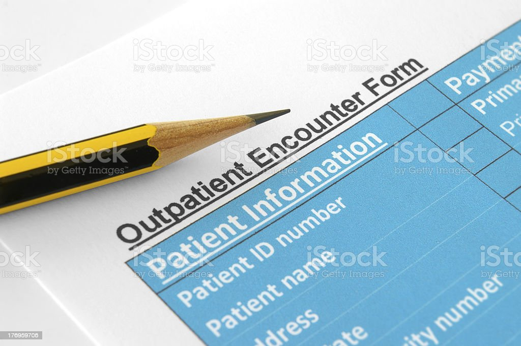 Outpatient Encounter Form stock photo