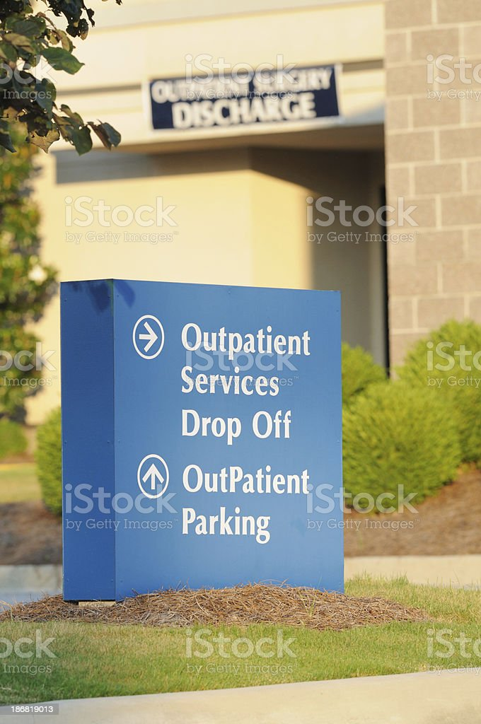 Outpatient services drop off parking and discharge stock photo