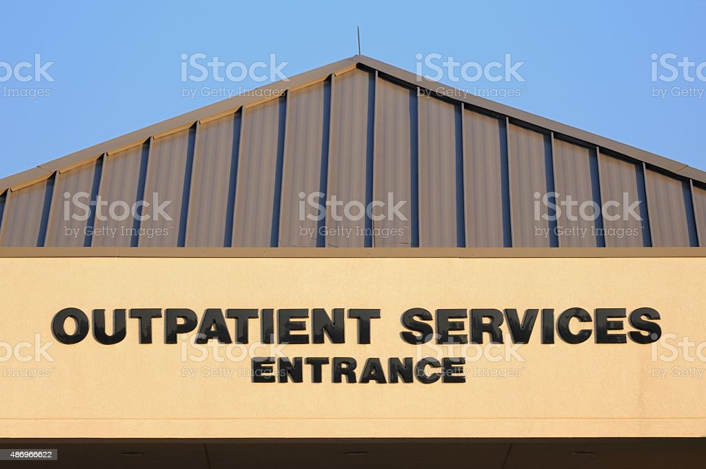 Outpatient services entrance stock photo