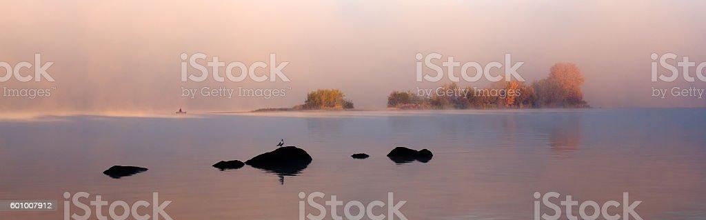 Outpost foggy autumn. stock photo