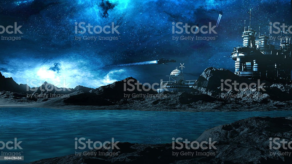 Outpost on another planet stock photo