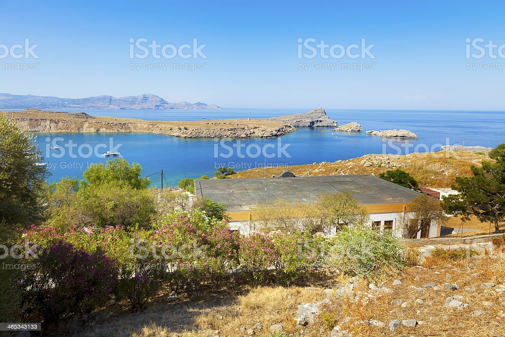 output from the Gulf of Lindos stock photo