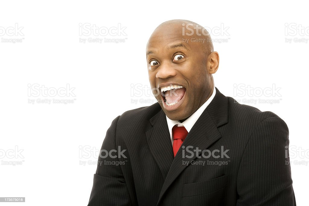 Outrageously startled mature black business man isolated surprised royalty-free stock photo
