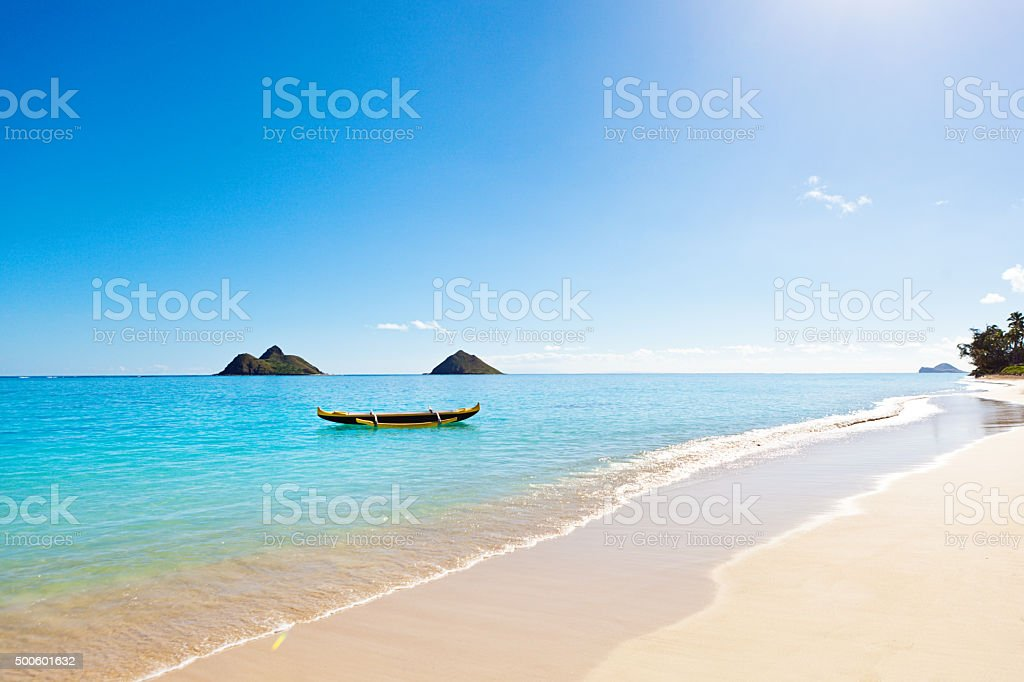 Outrigger Canoe on Lanikai Beach of Oahu Hawaii stock photo