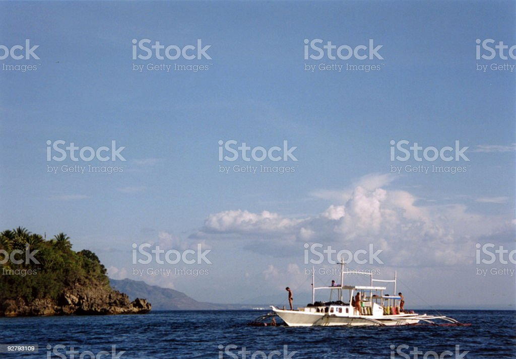 outrigger dive boat puerta galera stock photo