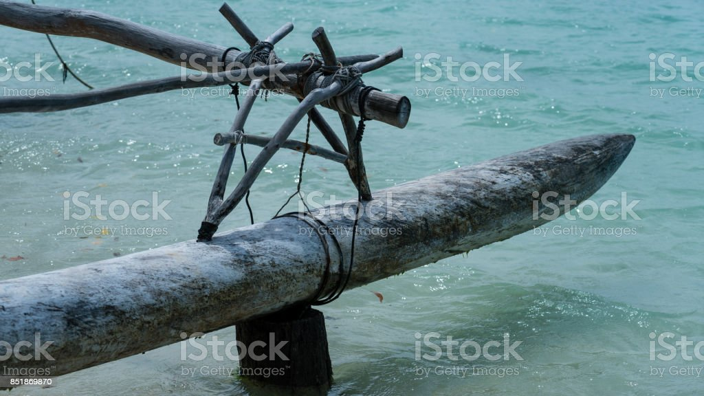 Outrigger of native boat stock photo