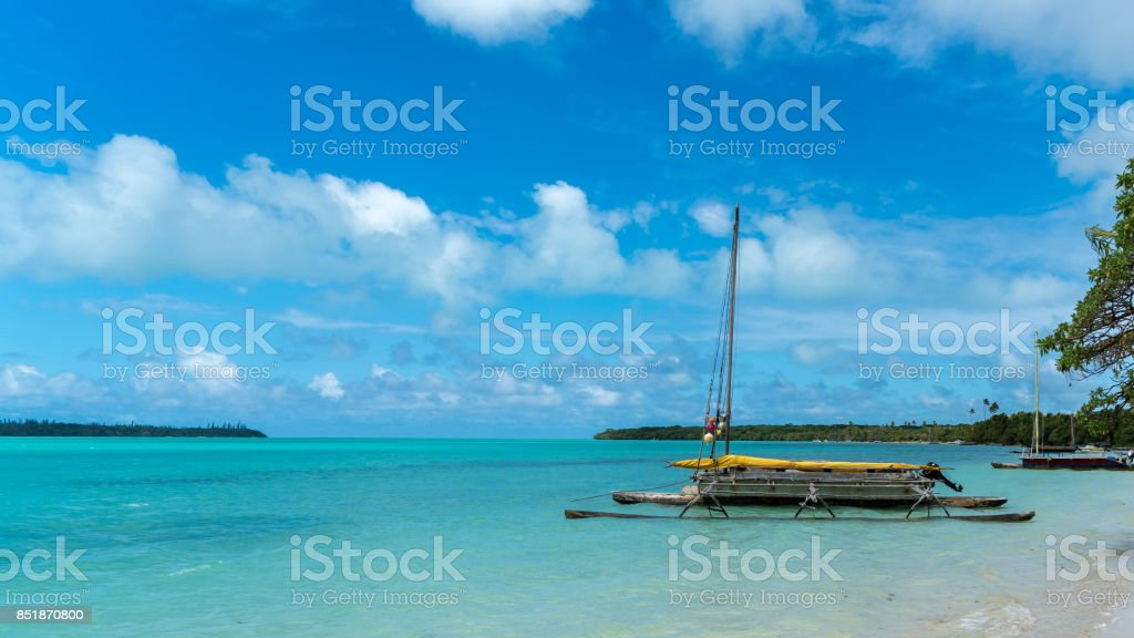 Outrigger on shore stock photo
