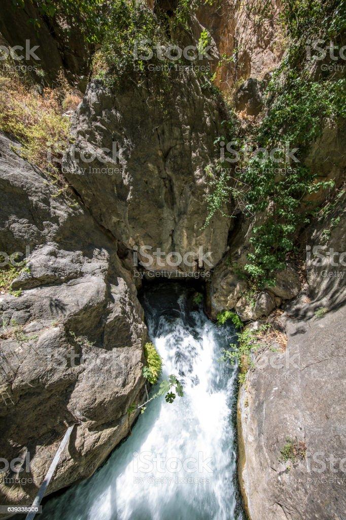 Outrun of underground river in Saklikent valley, Antalya, Turkey stock photo