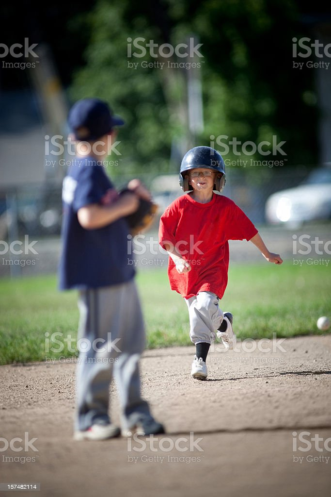 Outrunning the ball stock photo