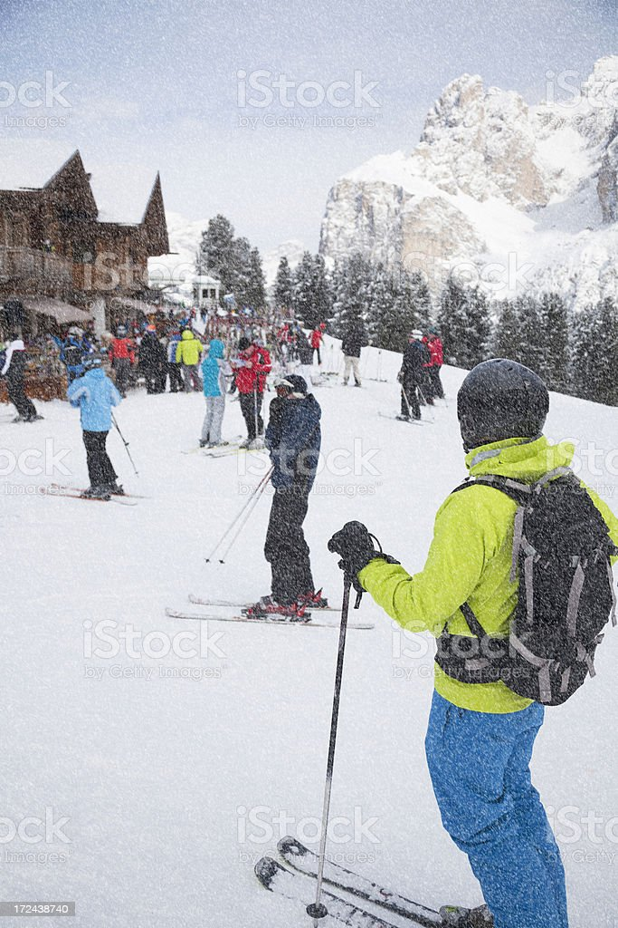 Outside a restaurant in The Dolomites, Italy stock photo