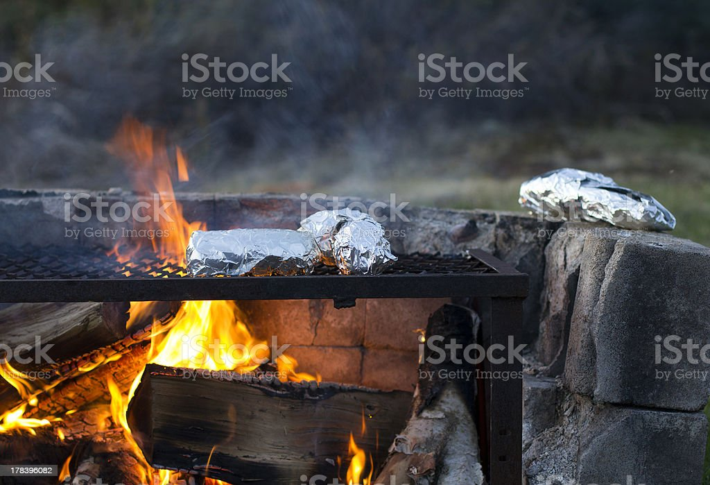 outside barbecue cooking royalty-free stock photo